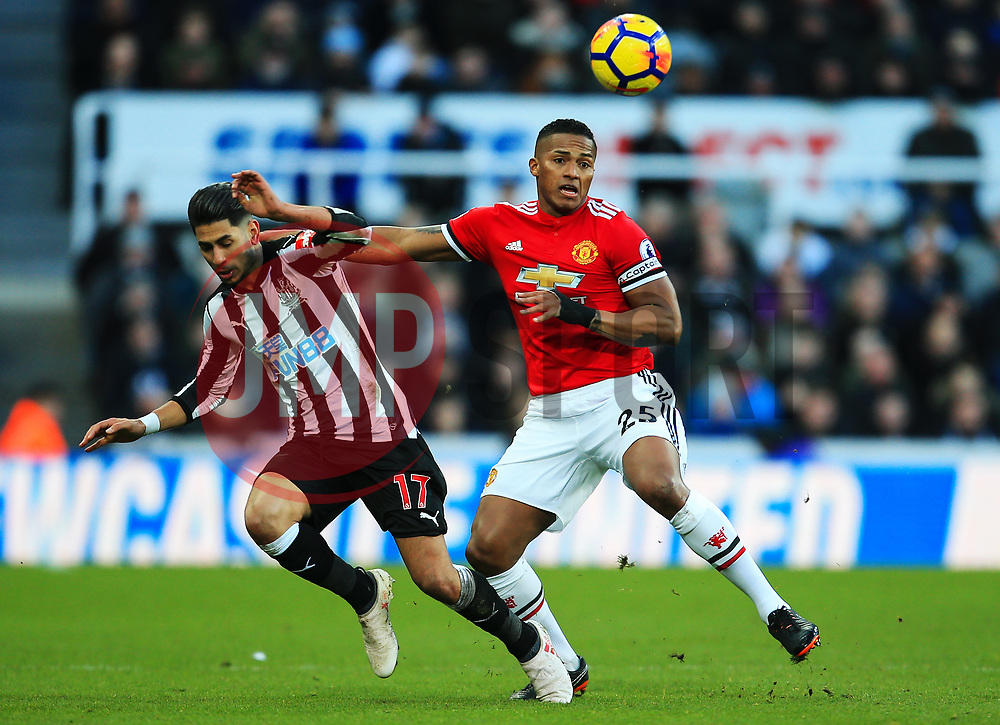 Luis Antonio Valencia of Manchester United battles with Ayoze Perez of Newcastle United - Mandatory by-line: Matt McNulty/JMP - 11/02/2018 - FOOTBALL - St James Park - Newcastle upon Tyne, England - Newcastle United v Manchester United - Premier League