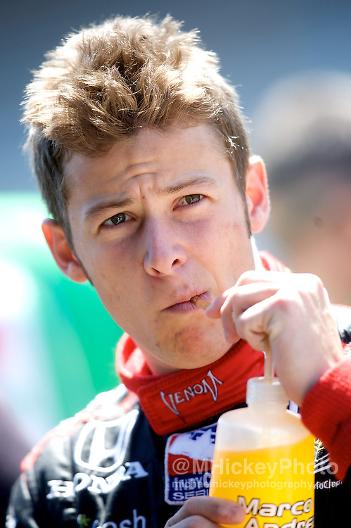 IndyCar driver Marco Andretti seen in the pit area during practice for the Indy 500 at the Indianapolis Motor Speedway. Photo by Michael Hickey
