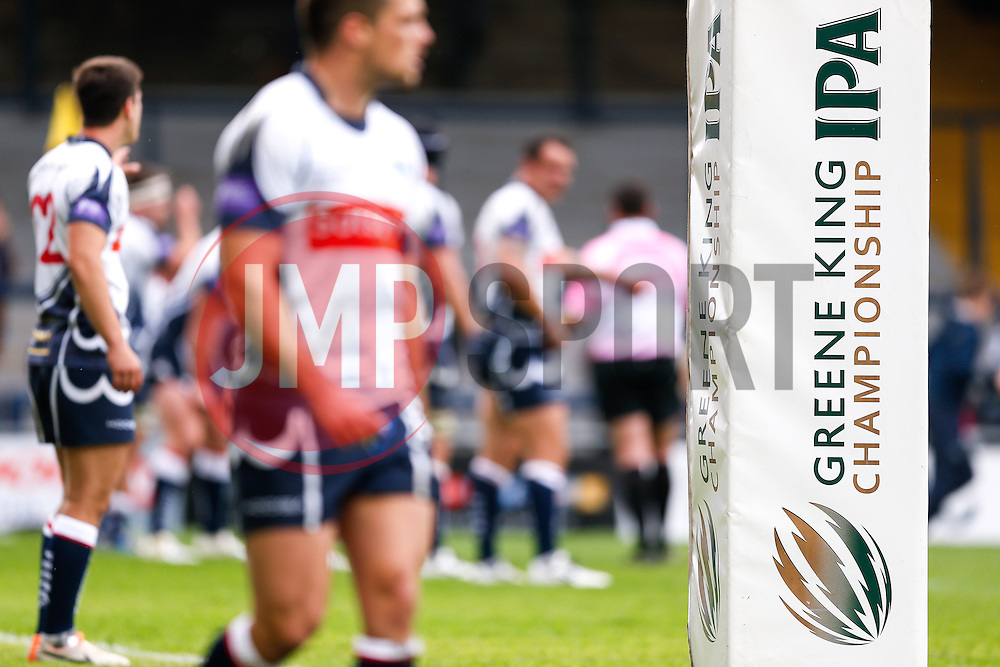 Branding of Championship title sponsor Greene King IPA on the post pads - Photo mandatory by-line: Rogan Thomson/JMP - 07966 386802 - 14/09/2014 - SPORT - RUGBY UNION - Leeds, England - Headingley Carnegie Stadium - Yorkshire Carnegie v Bristol Rugby - Greene King IPA Championship.
