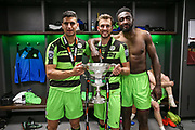 Forest Green Rovers Omar Bugiel(11), Forest Green Rovers Christian Doidge(9) and Forest Green Rovers Manny Monthe(3) with the trophy during the Vanarama National League Play Off Final match between Tranmere Rovers and Forest Green Rovers at Wembley Stadium, London, England on 14 May 2017. Photo by Shane Healey.