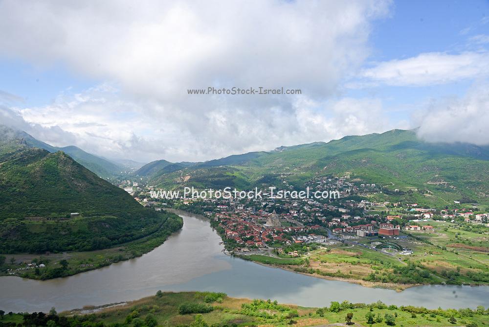 Elevated view of Mtskheta and the Mtkvari river, Georgia