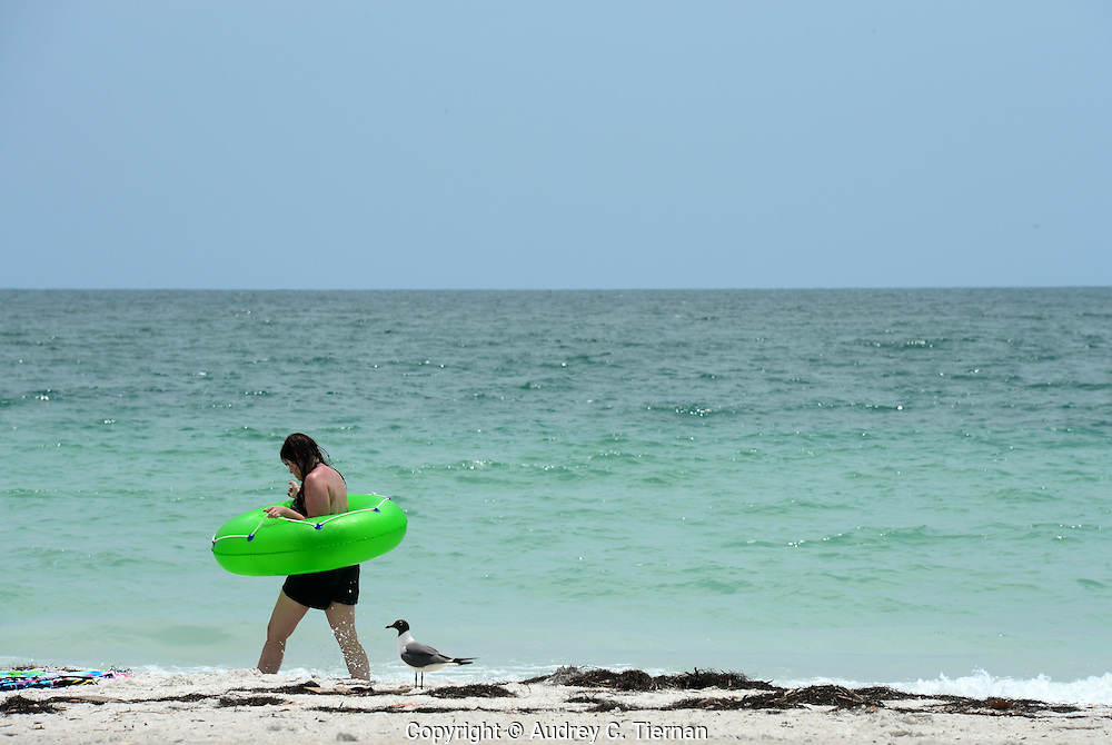 Sarasota, Fl:  Saturday, June 9, 2012-- A girl walks Lido Beach in Florida with green life preserver as protection as a gull watches.  ©Audrey C. Tiernan