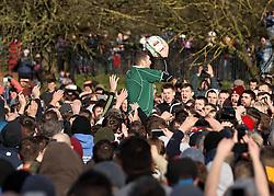 The ball is caught after being turned up - Mandatory byline: Robbie Stephenson/JMP - 09/02/2016 - FOOTBALL -  - Ashbourne, England - Up'Ards v Down'Ards - Royal Shrovetide Football