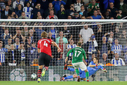 GOAL - 2-2 Brighton and Hove Albion striker Glenn Murray (17) scores from the penalty spot and beats Southampton goalkeeper Alex McCarthy (1) during the Premier League match between Southampton and Brighton and Hove Albion at the St Mary's Stadium, Southampton, England on 17 September 2018.