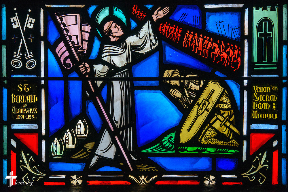 Stained glass at Luther Memorial Chapel depicts St. Bernard of Clairvaux, 1091-1153, on Friday, Jan. 29, 2016, in Shorewood, Wis. LCMS Communications/Erik M. Lunsford