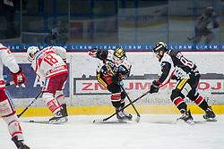 19.12.2017, Ice Rink, Znojmo, CZE, EBEL, HC Orli Znojmo vs EC KAC, 30. Runde, im Bild v.l. Thomas Koch (EC KAC) David Bartos (HC Orli Znojmo) Jan Lattner (HC Orli Znojmo) // during the Erste Bank Icehockey League 30th round match between HC Orli Znojmo and EC KAC at the Ice Rink in Znojmo, Czech Republic on 2017/12/19. EXPA Pictures © 2017, PhotoCredit: EXPA/ Rostislav Pfeffer