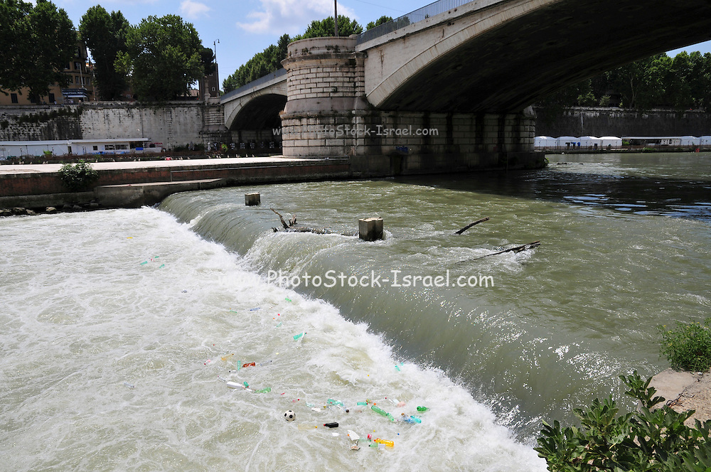 Rome, Italy the Tiber river Dirt and rubbish float in the river