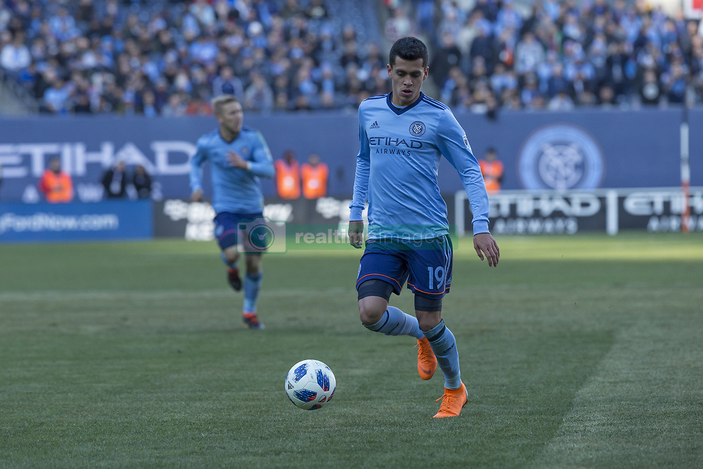 March 11, 2018 - New York, New York, United States - Jesus Medina (19) of NYC FC controls air ball during regular MLS game against LA Galaxy at Yankee stadium NYC FC won 2 -1  (Credit Image: © Lev Radin/Pacific Press via ZUMA Wire)