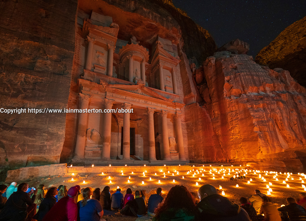 Petra By Night candlelit tourist event at The Treasury (Al Khazneh), Petra, Jordan, UNESCO
