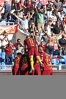 L'esultanza dopo il gol di Lorenzo Pellegrini Roma<br />Goal Celebration Roma<br />Roma 28-09-2018 Stadio Olimpico Football Calcio Serie A 2018/2019 AS Roma - Lazio Foto Luca Pagliaricci / Insidefoto