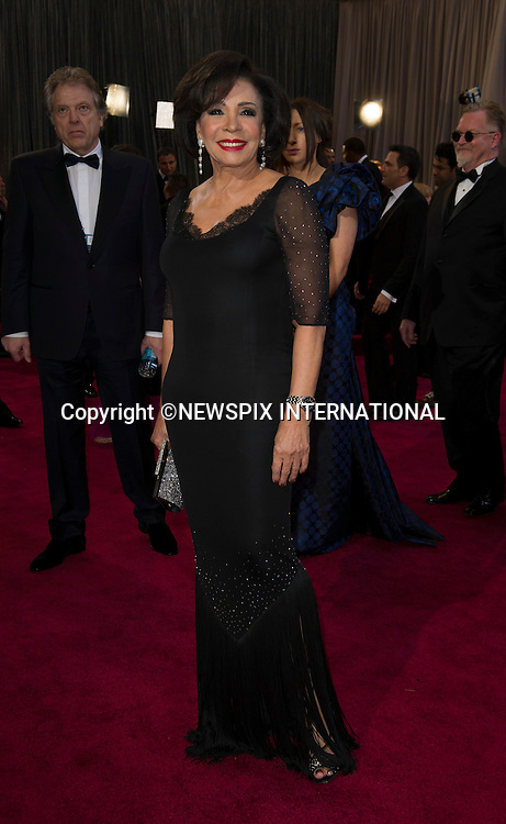 "SHIRLEY BASSEY..Red Carpet arrival for the 85th Annual Academy Awards, Dolby Theatre, Hollywood, Los Angeles_23/02/2013.Mandatory Photo Credit: ©Dias/Newspix International..**ALL FEES PAYABLE TO: ""NEWSPIX INTERNATIONAL""**..PHOTO CREDIT MANDATORY!!: NEWSPIX INTERNATIONAL(Failure to credit will incur a surcharge of 100% of reproduction fees)..IMMEDIATE CONFIRMATION OF USAGE REQUIRED:.Newspix International, 31 Chinnery Hill, Bishop's Stortford, ENGLAND CM23 3PS.Tel:+441279 324672  ; Fax: +441279656877.Mobile:  0777568 1153.e-mail: info@newspixinternational.co.uk"