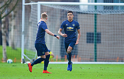 KIRKBY, ENGLAND - Saturday, January 26, 2019: Manchester United's Mason Greenwood celebrates scoring his side's first goal during the FA Premier League match between Liverpool FC and Manchester United FC at The Academy. (Pic by David Rawcliffe/Propaganda)