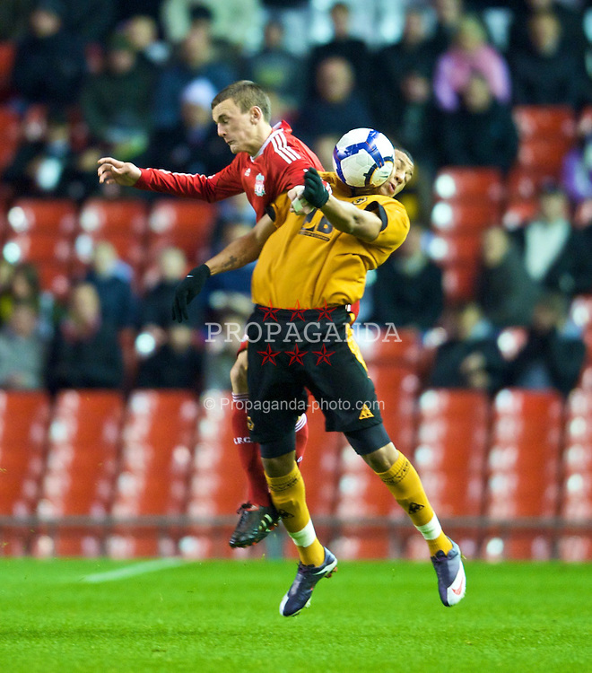 LIVERPOOL, ENGLAND - Monday, November 30, 2009: Liverpool's Jack Roninson and Wolverhampton Wanderers' Nathaniel Mednez-Laing during the FA Youth Cup 3rd Round at Anfield. (Pic by David Rawcliffe/Propaganda)