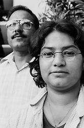 BANGLADESH DHAKA 21OCT00 - Lisa poses for a picture with Mr Rafiqul Islam, claiming to be her long lost father...jre/Photo by Jiri Rezac..© Jiri Rezac 2000..Tel/Fax: +44 (0) 20 8968 9635.Mobile: +44 (0) 7801 337 683..Email: jiri@jirirezac.com.Web: www.jirirezac.com..All pictures © Jiri Rezac 2000. All rights reserved.