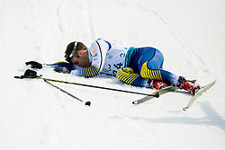 March 12, 2018 - Pyeongchang, SOUTH KOREA - ZEBASTIAN MODIN of Sweden collapses in the finish area after the men's 20 km visually impaired cross-country skiing during day three of the 2018 Winter Paralympics in Pyeongchang. (Credit Image: © Vegard Wivestad Grott/Bildbyran via ZUMA Press)