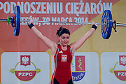 Natalia Kraszewska from Poland competes during Women's Weightlifting Polish Cup 2014 in Jozefow near Warsaw on March 30, 2014.<br /> <br /> Poland, Jozefow, March 30, 2014<br /> <br /> Picture also available in RAW (NEF) or TIFF format on special request.<br /> <br /> For editorial use only. Any commercial or promotional use requires permission.<br /> <br /> Mandatory credit:<br /> Photo by &copy; Adam Nurkiewicz / Mediasport