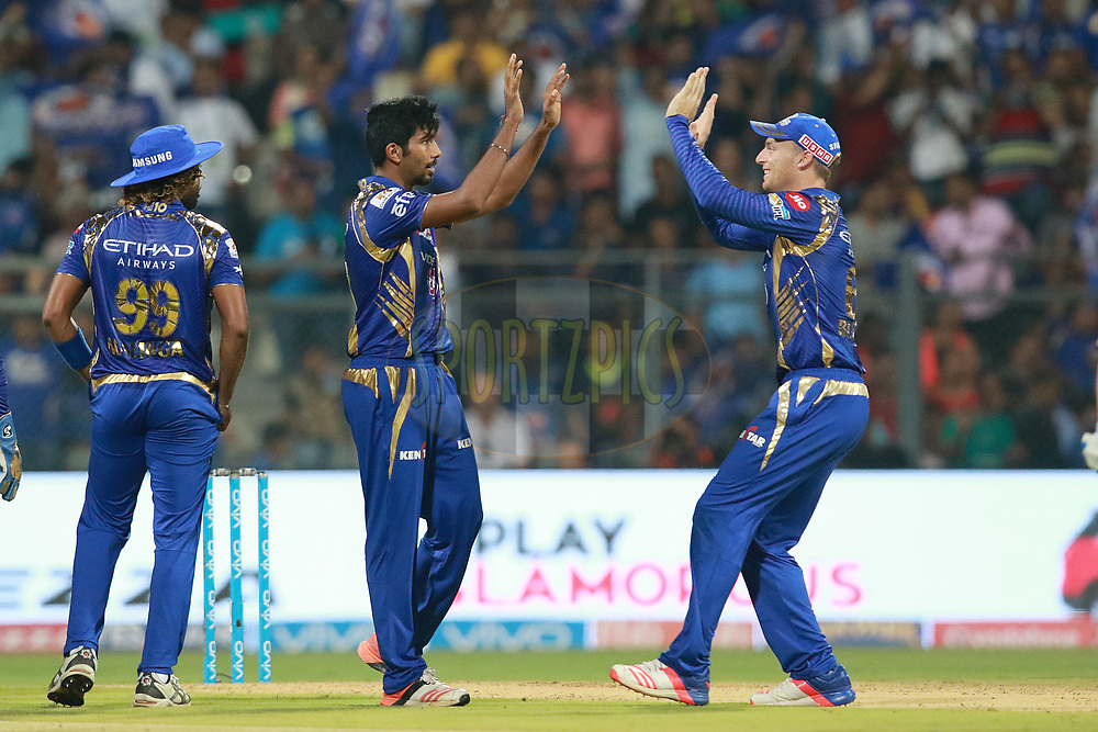Jasprit Bumrah of MI celebartes the wicket of Chris Lynn of KKR during match 7 of the Vivo 2017 Indian Premier League between the Mumbai Indians and the Kolkata Knight Riders held at the Wankhede Stadium in Mumbai, India on the 9th April 2017<br /> <br /> Photo by Rahul Gulati - IPL - Sportzpics