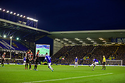 LIVERPOOL, ENGLAND - Saturday, January 4, 2014: Everton's Nikica Jelavic takes a free-kick against Queens Park Rangers during the FA Cup 3rd Round match at Goodison Park. (Pic by David Rawcliffe/Propaganda)