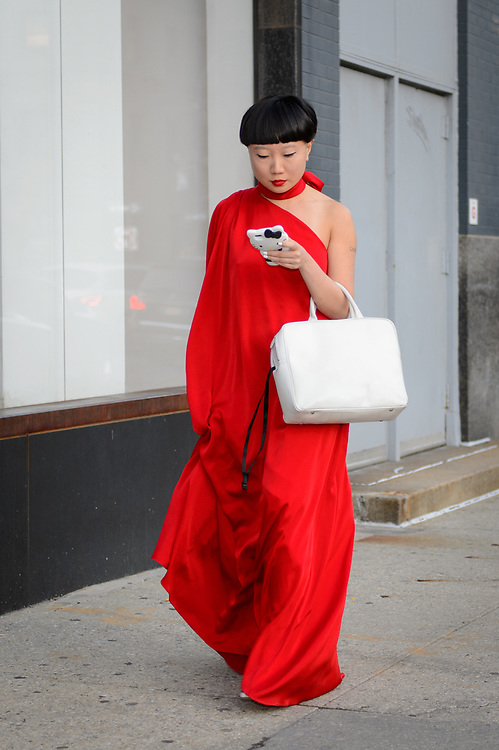 Red Gown and White Bag, Outside Planned Parenthood's Spring Gala 2018