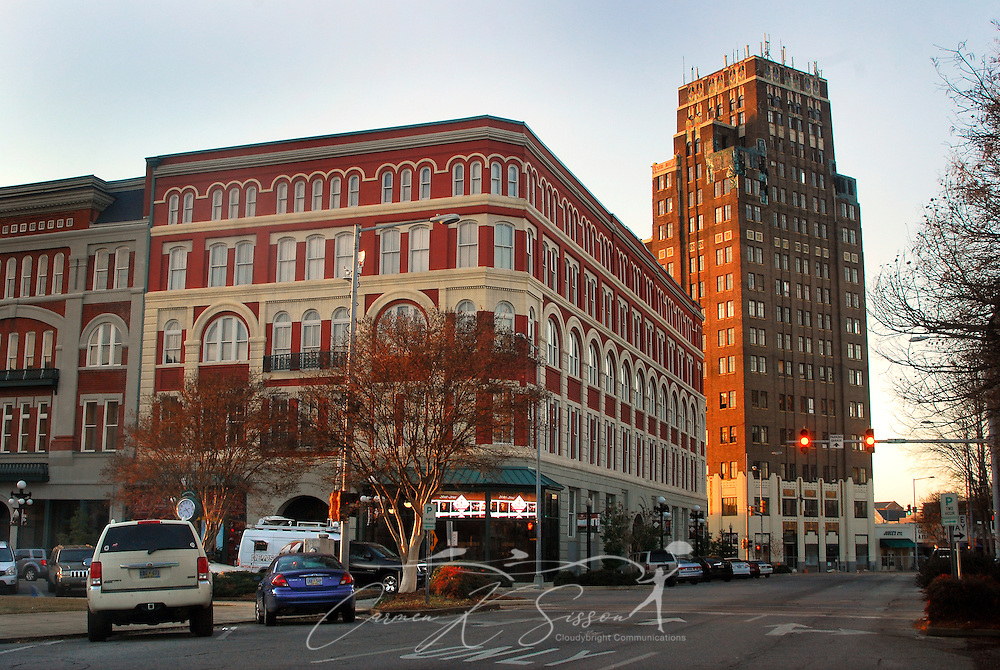 The sun sets on the Threefoot Building on Jan. 11, 2011 in downtown Meridian, Mississippi. At 16-stories tall, the Threefoot Building is the tallest building in Meridian and was originally built as an Art Deco Center. It was listed as one of America's Most Endangered Places in 2010. (Photo by Carmen K. Sisson/Cloudybright)
