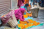 Flower seller in Kathmandu (Nepal)