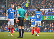 Portsmouth midfielder Gary Roberts leaves the field after being sent off during the Sky Bet League 2 match between Portsmouth and Newport County at Fratton Park, Portsmouth, England on 12 March 2016. Photo by Adam Rivers.