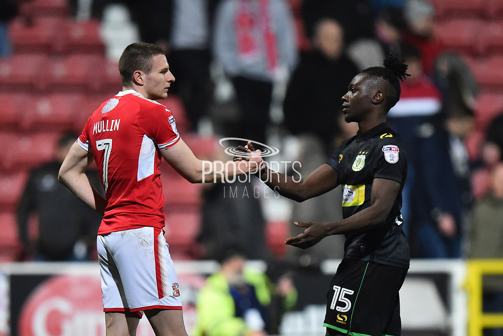 Paul Mullin (7) of Swindon Town shakes hands with Jordan Green (15) of Yeovil Town at full time after a 2-2 draw during the EFL Sky Bet League 2 match between Swindon Town and Yeovil Town at the County Ground, Swindon, England on 10 April 2018. Picture by Graham Hunt.