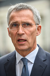 © Licensed to London News Pictures. 15/10/2019. LONDON, UK.  Jens Stoltenberg, NATO Secretary General, gives a press interview outside Number 10 Downing Street, after meeting Boris Johnson, Prime Minister, for talks.  Photo credit: Stephen Chung/LNP