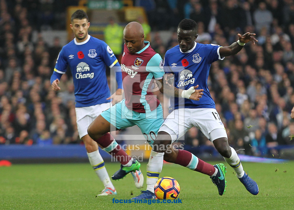 Idrissa Gueye of Everton and Andre Ayew of West Ham United in action during the Premier League match at Goodison Park, Liverpool.<br /> Picture by Michael Sedgwick/Focus Images Ltd +44 7900 363072<br /> 30/10/2016