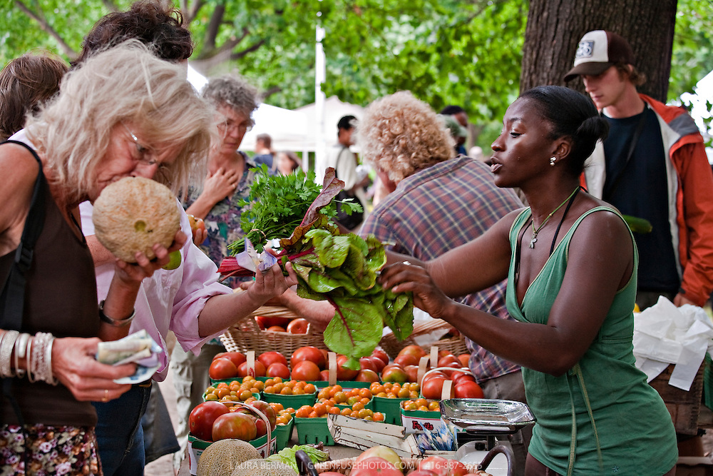 Shoppers at a bustling farmers' market, selecting  local, organic produce from farmer Ted Thorpe at Dufferin Grove Organic farmers' market in Toronto, Canada