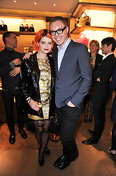 PIXIE GELDOF and STUART VEVERS Creative Director of Loewe at the opening of Loewe's new boutique at 125 Mount Street, London on 23rd March 2011.