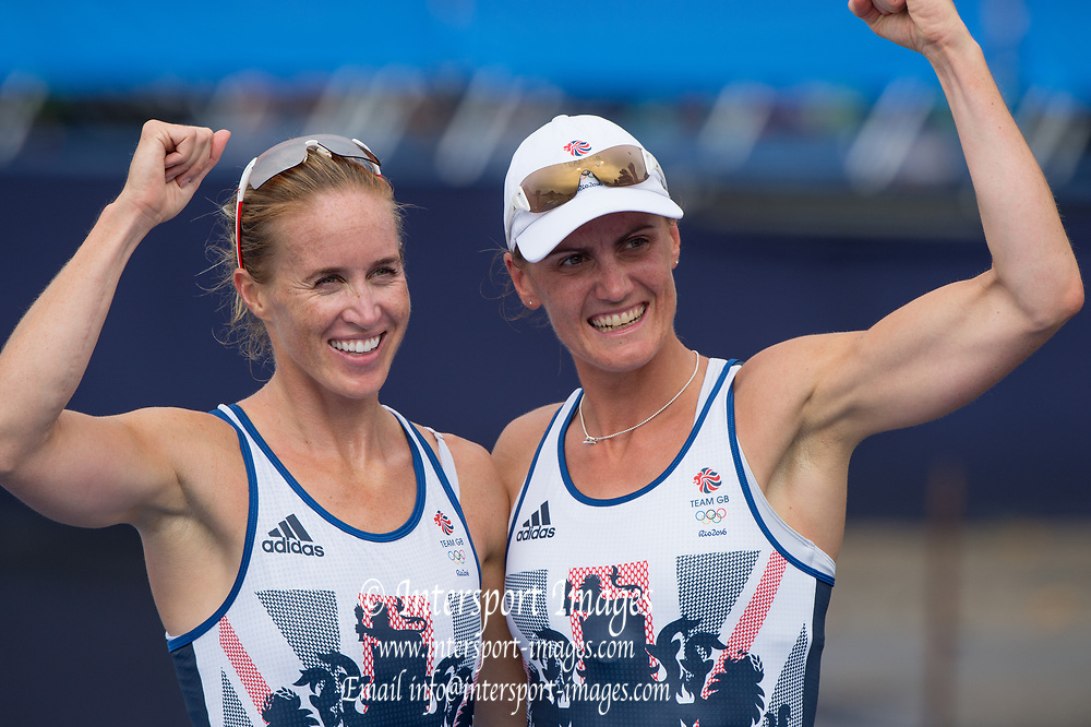 Rio de Janeiro. BRAZIL. Womens Pair GBR W2-. Bow.  Helen GLOVER and Heather STANNING, 2016 Olympic Rowing Regatta. Lagoa Stadium,<br />