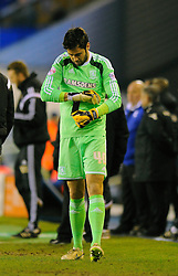 Middlesbrough's Tomas Mejias prepares to come on to replace Middlesbrough's Dimitrios Konstantopoulos in goal - Photo mandatory by-line: Dougie Allward/JMP - Mobile: 07966 386802 - 18/02/2015 - SPORT - Football - Birmingham - ST Andrews Stadium - Birmingham City v Middlesbrough - Sky Bet Championship