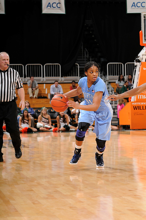 February 8, 2012: Brittany Roundtree #11 of North Carolina in action during the NCAA basketball game between the Miami Hurricanes and the North Carolina Tar Heels at the Bank United Center in Coral Gables, FL. The Hurricanes defeated the Tar Heels 61-37.