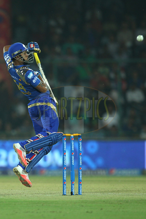 Lendl Simmons of the Mumbai Indians bats during match 21 of the Pepsi IPL 2015 (Indian Premier League) between The Delhi Daredevils and The Mumbai Indians held at the Ferozeshah Kotla stadium in Delhi, India on the 23rd April 2015.<br /> <br /> Photo by:  Deepak Malik / SPORTZPICS / IPL