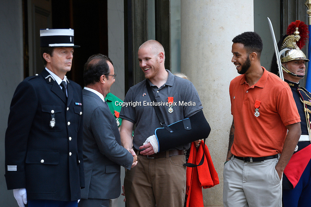 French President Hollande presents three Americans and a British grandfather who tackled Paris train terrorist with France's highest honour for bravery for preventing 'carnage'<br /> <br /> Three Americans and a British grandfather who prevented 'carnage' by tackling the French train terrorist have been awarded France's highest honour for bravery.<br /> U.S. Airman Spencer Stone, National Guardsman Alek Skarlatos, their friend Anthony Sadler and Briton Chris Norman were presented with the Legion d'Honneur at the Elysee Palace in Paris.<br /> French President Francois Hollande, who pinned on their medals, praised the men for taking action in the face of terrorism.<br /> The ceremony was held as the first heroic passenger who wrestled a machine gun from the terrorist was today revealed to be an American professor.<br /> <br /> Mark Moogalian, an academic at the University of Paris, was shot in the neck as he fought with Ayoub El-Khazzani on board the high-speed service from Amsterdam to Paris.<br /> The other four men then stepped in to overpower the attacker and tie him up.<br /> Speaking at the medal ceremony, Mr Hollande told Mr Stone and Mr Skarlatos that while they may have been soldiers on that day 'you were simply passengers. You behaved as soldiers but also as responsible men.'<br /> <br /> Photo shows: Spencer Stone and Anthony Sadler<br /> ©Exclusivepix Media