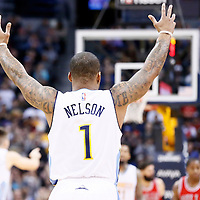 22 November 2016: Denver Nuggets guard Jameer Nelson (1) celebrates during the Denver Nuggets 110-107 victory over the Chicago Bulls, at the Pepsi Center, Denver, Colorado, USA.