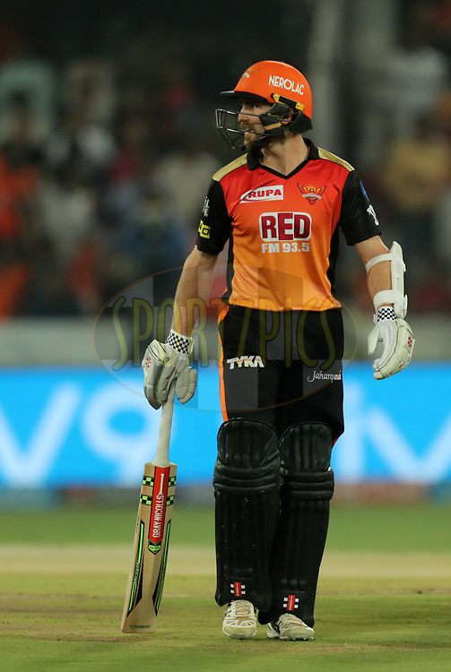 Kane Williamson captain of Sunrisers Hyderabad walks back during match twenty five of the Vivo Indian Premier League 2018 (IPL 2018) between the Sunrisers Hyderabad and the Kings XI Punjab  held at the Rajiv Gandhi International Cricket Stadium in Hyderabad on the 26th April 2018.<br /> <br /> Photo by: Prashant Bhoot /SPORTZPICS for BCCI