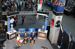 May 29; Newark, NJ, USA; Atmosphere during Stanley Cup Finals media practice day at the Prudential Center.