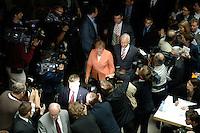 30 MAY 2005, BERLIN/GERMANY:<br />  Angela Merkel (L), CDU Bundesvorsitzender, und Edmund Stoiber (R), CSU, Ministerpraesident Bayern, zwischen Journalisten hindurch, auf dem Weg zum Podium, Pressekonferenz zur Nominierung von Angela Merkel als Kanzlerkandidatin der CDU/CSU in der bevorstehenden Bundestagswahl durch eine gemeinsamen Praesidiumssitzung von CDU und CSU, Bundesgeschaeftsstelle der CDU<br /> IMAGE: 20050530-04-001<br /> KEYWORDS: kamera, Camera, Journalist