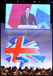 Chancellor of the Exchequer George Osborne during his speech at the Conservative Party Conference in Manchester, Monday October 3, 2011. Photo By Andrew Parsons/ i-Images