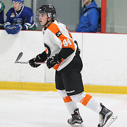 BURLINGTON, ON - SEP 9:  Hudson Lambert #94 of the Orangeville Flyers follow the play in the first period during the OJHL regular season game between the Orangeville Flyers and the Burlington Cougars. Orangeville Flyers and Burlington Cougars  on September 9, 2016 in Burlington, Ontario. (Photo by Tim Bates / OJHL Images)