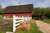 Haystacks, White Picket Fence and Red Barn at Seed Savers Heritage Farm, Decorah, Iowa