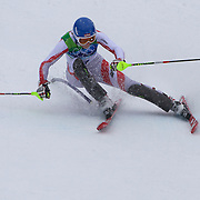 Winter Olympics, Vancouver, 2010.Marlies Schild, Austria, winning the Silver Medal in action in the Alpine Skiing Ladies Slalom at Whistler Creekside, Whistler, during the Vancouver Winter Olympics. 24th February 2010. Photo Tim Clayton