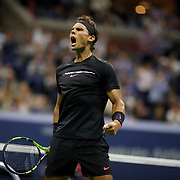 2017 U.S. Open Tennis Tournament - DAY TWELVE. Rafael Nadal of Spain celebrate a break of serve against Juan Martin del Potro of Argentina during the Men's Singles Semifinal at the US Open Tennis Tournament at the USTA Billie Jean King National Tennis Center on September 08, 2017 in Flushing, Queens, New York City.  (Photo by Tim Clayton/Corbis via Getty Images)