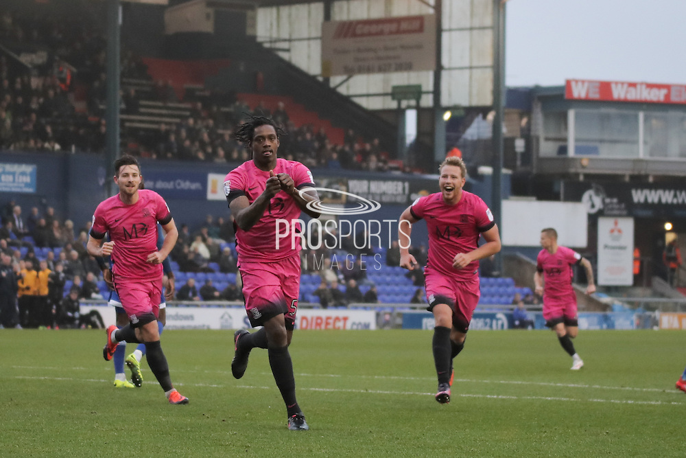 Southend United striker Nile Ranger (50) celebrates scoring the opening goal of the game to make the score 1-0 during the EFL Sky Bet League 1 match between Oldham Athletic and Southend United at Boundary Park, Oldham, England on 17 December 2016. Photo by Simon Brady.