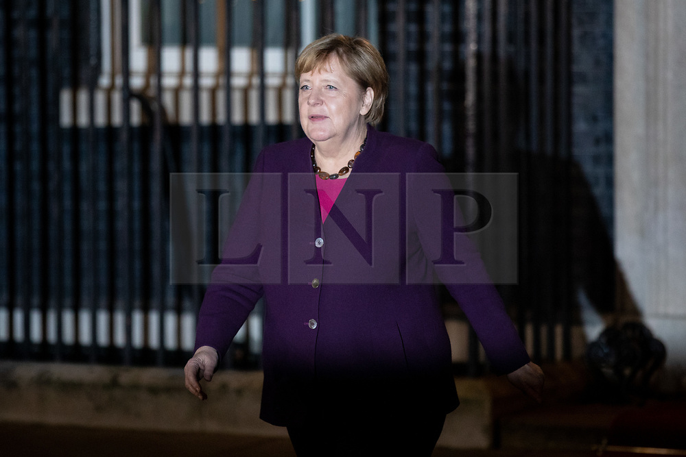 © Licensed to London News Pictures. 03/12/2019. London, UK. German Chancellor Angela Merkel leaves 10 Downing Street following a meeting with UK Prime Minister Boris Johnson. International leaders are visiting the UK for to mark the 70th anniversary of the North Atlantic Treaty Organisation (NATO) Photo credit : Tom Nicholson/LNP