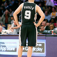 19 March 2014: San Antonio Spurs guard Tony Parker (9) rests during the San Antonio Spurs 125-109 victory over the Los Angeles Lakers at the Staples Center, Los Angeles, California, USA.