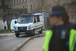 A police vehicle near the Manchester Arena where a suspected terrorist attack at the end of a concert by US star Ariana Grande left 19 dead.