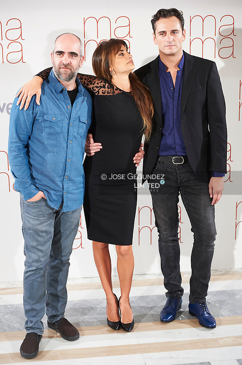 Penelope Cruz, Asier Etxeandia and Luis Tosar attends 'Ma ma' photocall at the Villamagna Hotel on September 8, 2015 in Madrid, Spain.